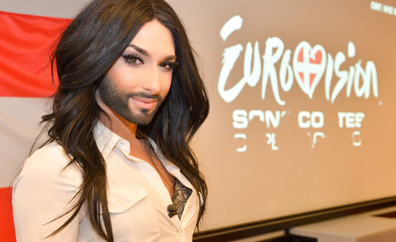Woman with beard on Eurovision